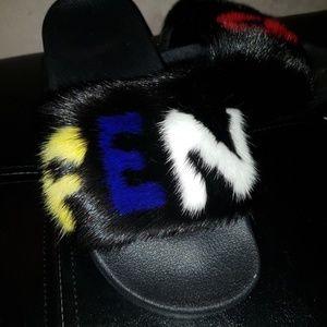 Shoes - Handmade Luxury Genuine Mink Fur Slides - peekaboo